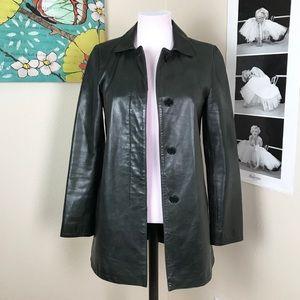 Coach 1941 Leather Coat Jacket Dark Green XS